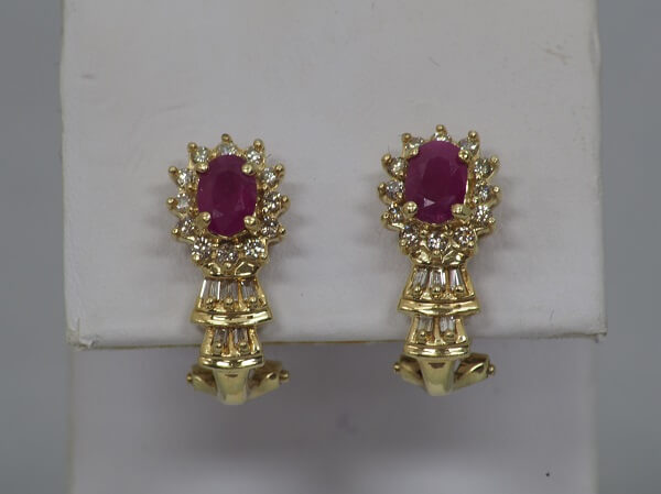 14k Yellow Gold Ruby and Diamond Earrings - $800