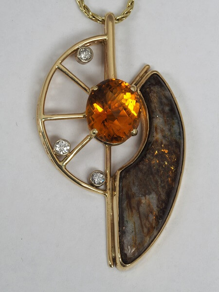14k Yellow Gold Citrine, Diamond, and Astrophyllite Pendant