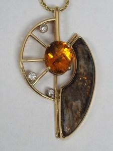 14k Yellow Gold Citrine, Diamond, and Astrophyllite Pendant