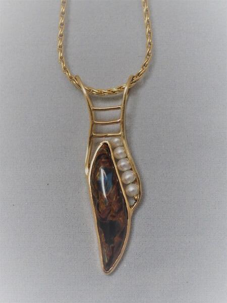 14k Yellow Gold Pietersite and Pearl Pendant