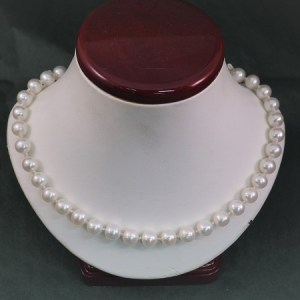 "18"" Freshwater Pearl Necklace with Handmade 14KW S-Clasp and Bead Caps - $425"