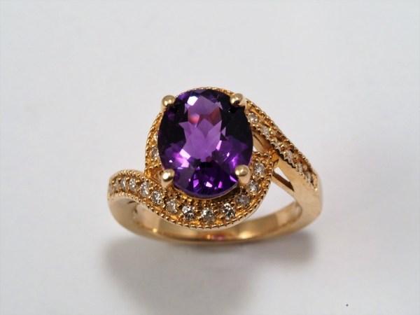 14k Yellow Gold Amethyst and Diamond Ring, .40ctw - $1,658