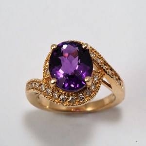 14k Yellow Gold Amethyst and Diamond Ring, .40ctw - $1,658