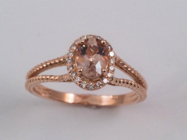10k Rose Gold Morganite and Diamond Ring, .12ctw diamond - $858