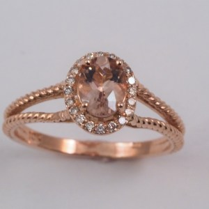 10k Rose Gold Morganite and Diamond Ring, .12ctw diamond - $858