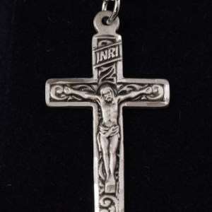 "Sterling Silver Engraved Crucifix 1 1/4"" X 5/8"" with 18"" SS Chain - $57.50"