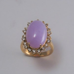 14k yellow lavender jade ring, .6tcw accent diamonds, 8.5g - $1,000