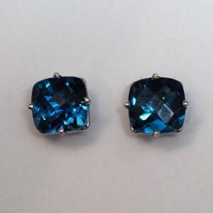 14k White Gold London Blue Topaz Earrings - $378