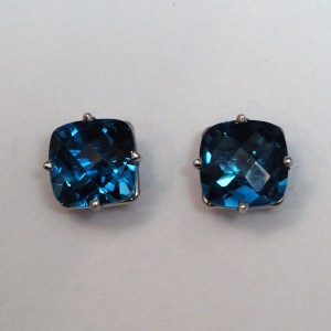 14k White Gold London Blue Topaz Earrings - $378