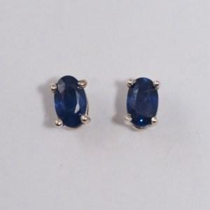 Sterling Silver 5mm x 3mm Oval Sapphire Earrings - $120