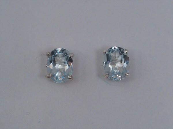 8mm x 6mm Sky Blue Topaz Sterling Silver Earrings - $130