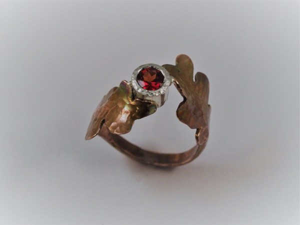 Hand-Forged Copper Leaf Ring, Garnet set in Sterling Bezel