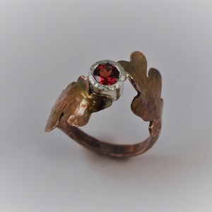 Hand-Forged Copper Leaf Ring, Garnet set in Sterling Bezel
