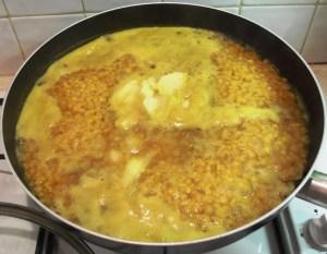 Vegetable Dhal Curry prep shot in pan.