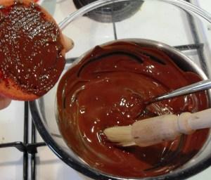 Red Nose Day Cookies with vanilla, cherry, dark chocolate