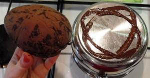 Melting base of easter egg to seal, chocolate egg