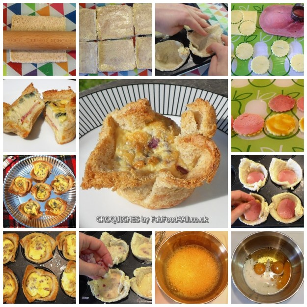 Step by step guide to making Crocquiches, picnic, croque monsieur, quiche
