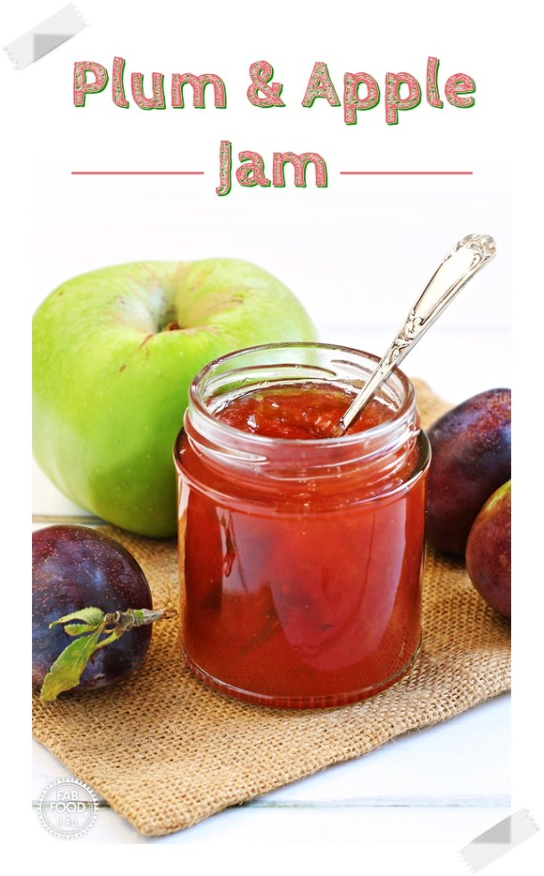 Plum & Apple Jam in open jar with teaspoon flanked by Marjorie plums & a Bramley apple. Pin image.