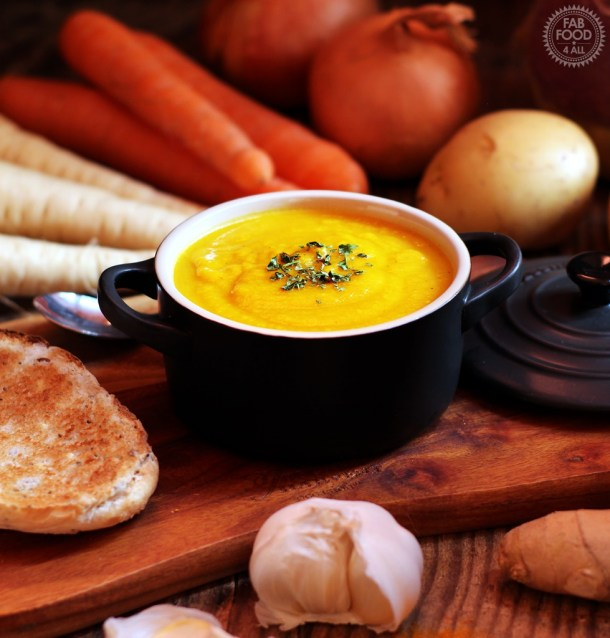 Curried Root Vegetable Soup - a delicious fusion of Korma curry & other spices along with ginger, garlic and onion which compliment swede, parsnips, carrots & potato beautifully!