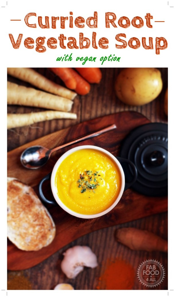 Curried Root Vegetable Soup - a delicious fusion of Korma curry & other spices which compliment swede, parsnips, carrots & potato beautifully! #soup #potage #curry #rootvegetables #vegetable #autumn #fall #winter #recipe