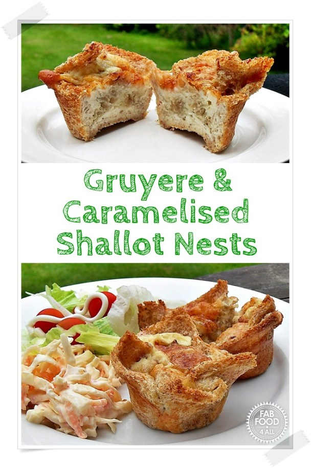 Gruyere & Caramelised Shallot Nests (mini quiches) perfect picnic food! Nest's of toasted bread filled with Gruyere, caramelised shallots and egg! #MiniQuiche #Gruyere #GruyereRecipes #ShallotRecipes #Shallot #CaramelisedShallot #quiche #quicherecipes #eggrecipes #bread #breadrecipes