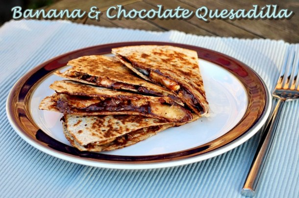 Banana & Chocolate Quesadilla, Nutella, chocolate spread, snack, dessert, breakfast, pudding, treat, kids, vegetarian, easy, quick