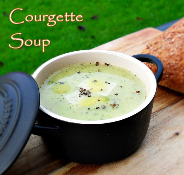 Courgette Soup with garlic, basil and parmesan cheese. Healthy, vegetarian, frugal, economical, cheap, quick, easy, broth,
