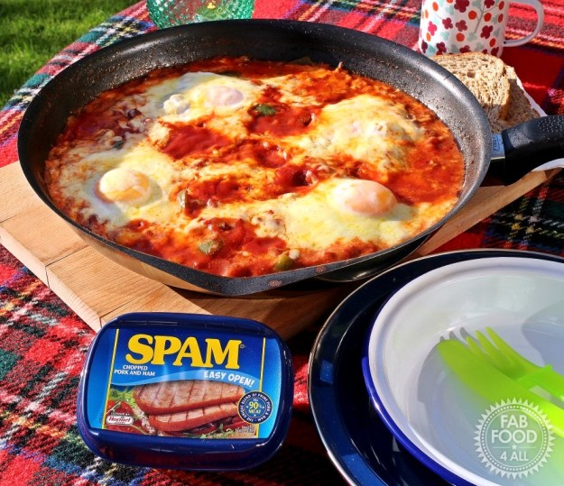 Chilli Spam & Eggs - Fab Food 4 All, camping, quick, easy, chickpeas