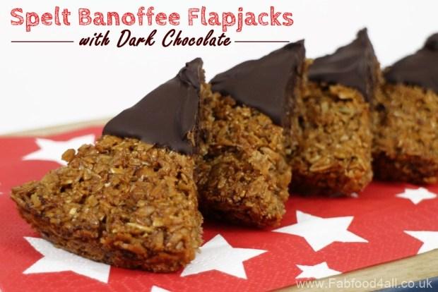 Spelt Banoffee Flapjacks with Dark Chocolate, Banana, Spelt Porridge Flakes, high fibre, healthy, wheatfree, nutritious, snack, treat,