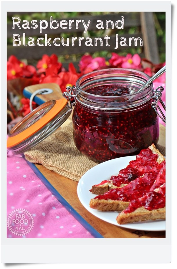 Raspberry & Blackcurrant Jam in a Kilner Jar and on toast.