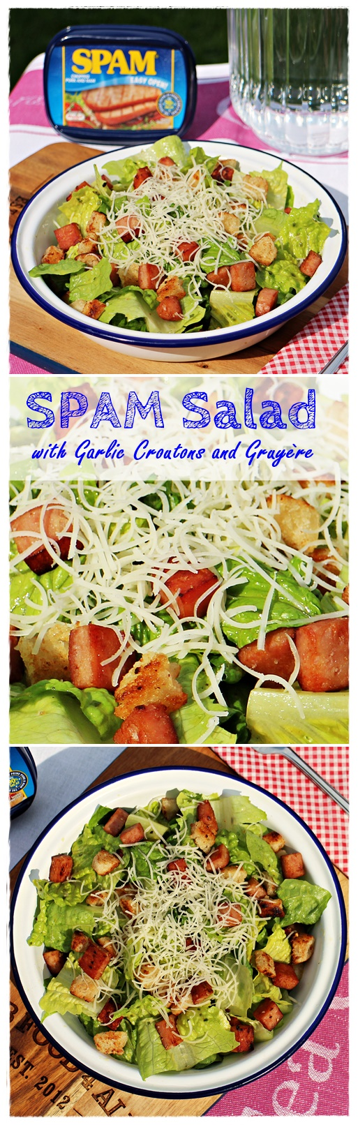 SPAM Salad with Garlic Croutons and Gruyère perfect family meal or great for a packed lunch! - Fab Food 4 Al