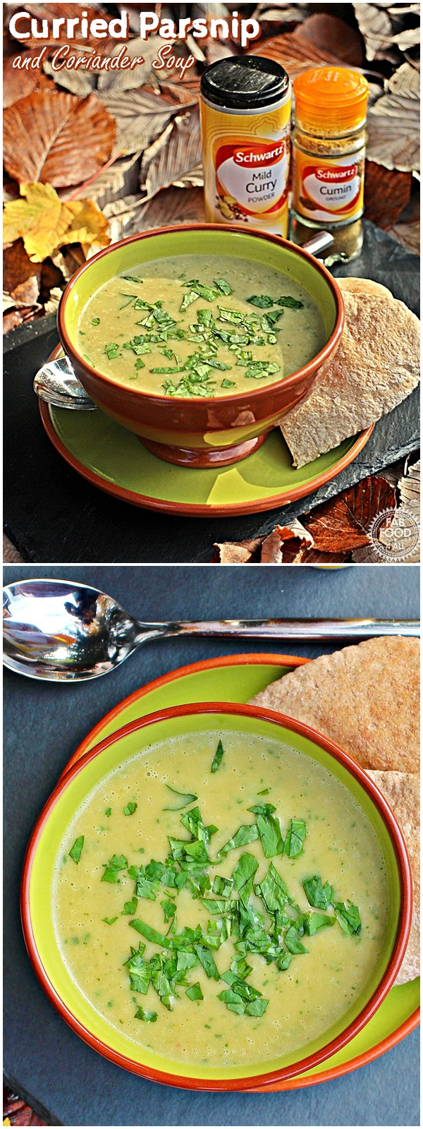 Curried Parsnip and Coriander Soup with red chilli, coconut milk and leaf coriander this soup is just divinely tasty! Fab Food 4 Alll