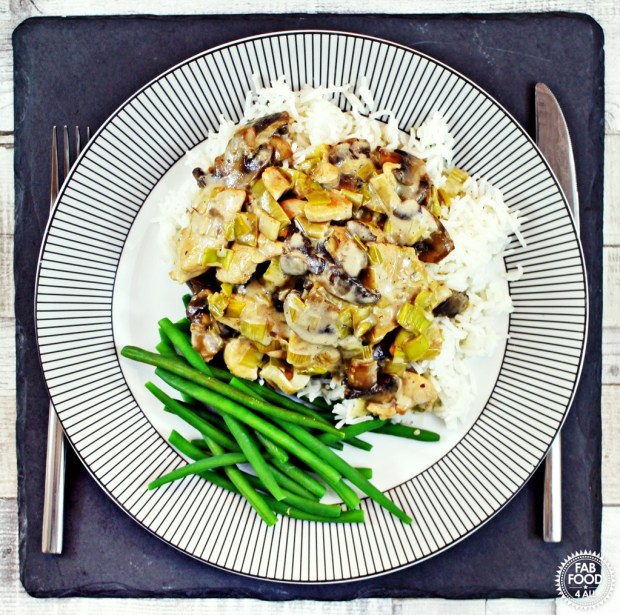 Chicken, Mushroom & Leeks in Cream & White Wine Sauce ...