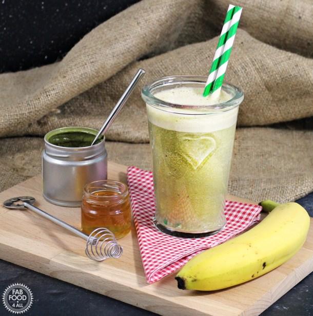 A healthy Matcha Green Tea Banana Smoothie using a2 Milk - Fab Food 4 All