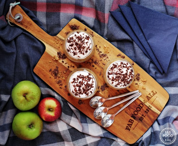 Cheat's Danish Apple Cake - Gammeldags Æblekage - served on a board with spoons in individual glasses.