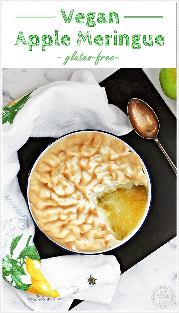 Vegan Apple Meringue made with aquafaba - a delicious family dessert that's also gluten-free! #apple #dessert #pudding #vegan #glutenfree #aquafaba #BramleyApple