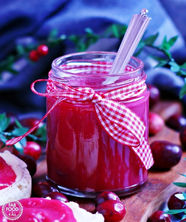 Easy Cranberry Curd, a delicious, fruity, festive spread which is perfect for gifting - just pop on a bow!