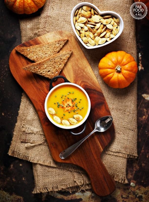 Curried Pumpkin Soup & Roasted Pumpkin Seeds garnish