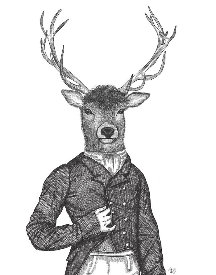 Portrait of Deer Top Hat and Tails