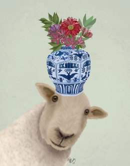 Sheep with Vase of Flowers