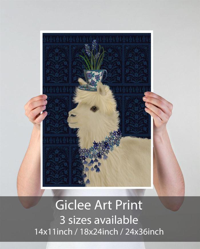 Llama Teacup and Blue Flowers