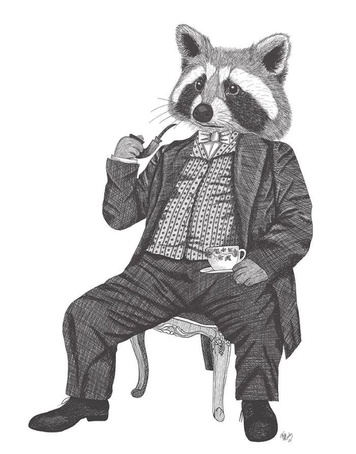 Raccoon Taking Tea