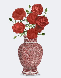 Chinoiserie Carnations Red