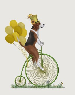 Beagle on Penny Farthing