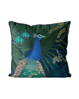 Peacock Garden 2 on Blue