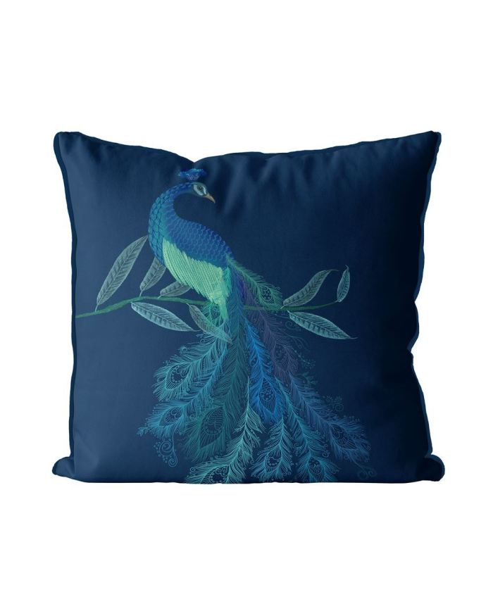 Peacock with Doodle Tail on Blue