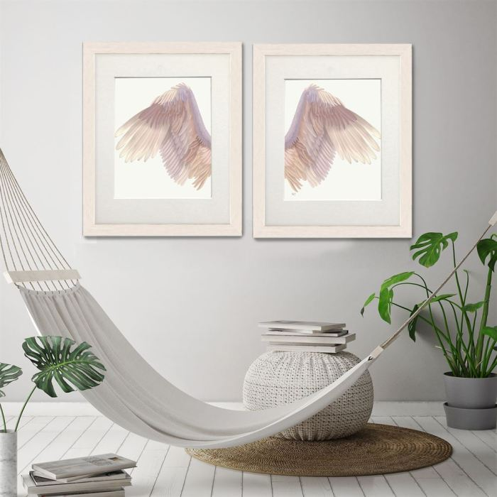 Angel Wings Collection Diptych Pink on Cream Art Print