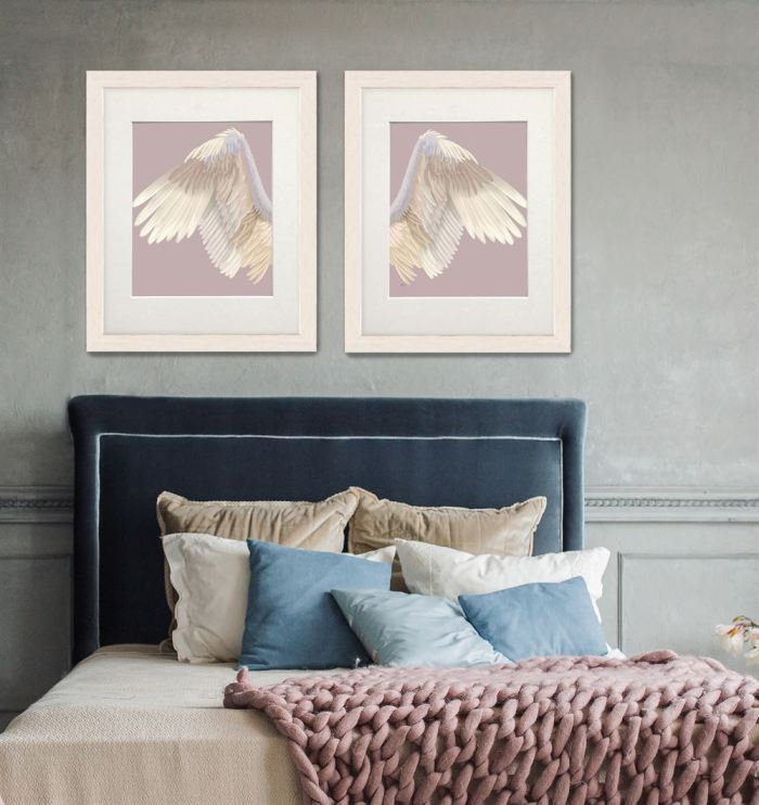 Angel Wings Collection Diptych Cream on Pink Art Print