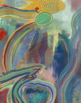 Waterfall Gaze Abstract Art Print
