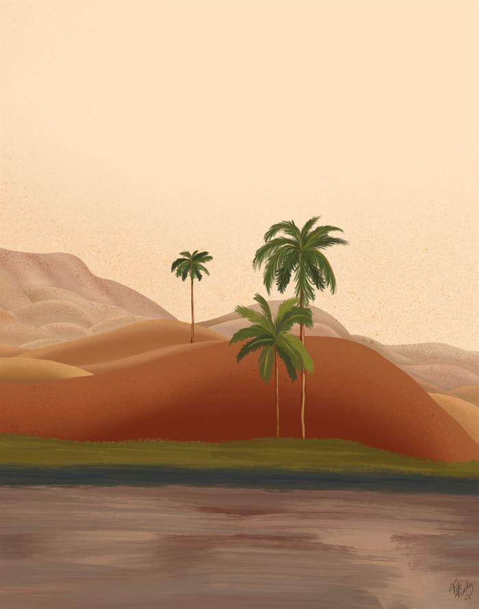 Palm Oasis 2 Tropical Art Print
